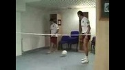 Cristiano Ronaldo & Deco Playing A Special Kind Of Voleyball