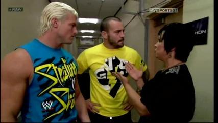 Cm Punk , Dolph Ziggler & Vickie Guerrero In Backstage Funny Segment