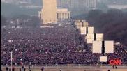 Cnn ! кадри от площадът пред Белият дом - Барак Обама встъпва в длъжност 20.01