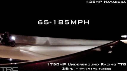 Лудо Ускорение 425hp Turbo Hayabusa Vs 1750hp Lamborghini Underground Racing