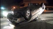 Автомобил се преобърна в центъра на Казанлък