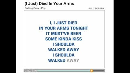 Cutting Crew - I Just Died In Your Arms karaoke
