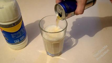 Мляко и Енергийна напитка - Експеримент