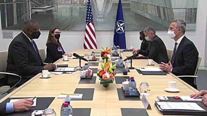 Belgium: NATO chief Stoltenberg, US Defense Secretary Austin hold talks in Brussels