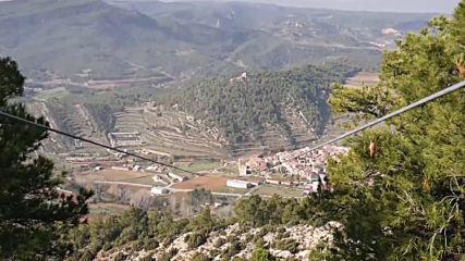 Tiny Spanish mountain town launches Europe's longest zip line