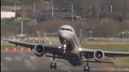 Екстремно приземяване и излитане на самолети при силен страничен вятър