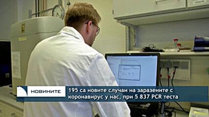 195 са новите случаи на заразените с коронавирус у нас, при 5 837 PCR теста