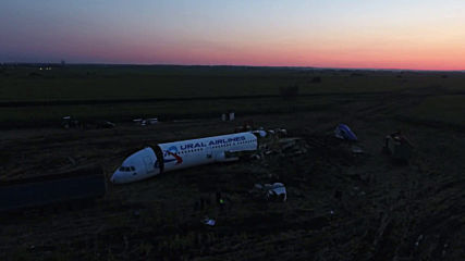 Russia: Drone footage reveals Ural plane disassembly after cornfield landing