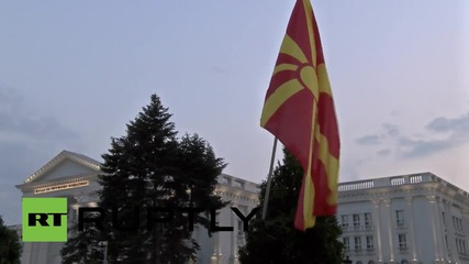 Macedonia: Protesters remain standing their ground as sun rises in Skopje