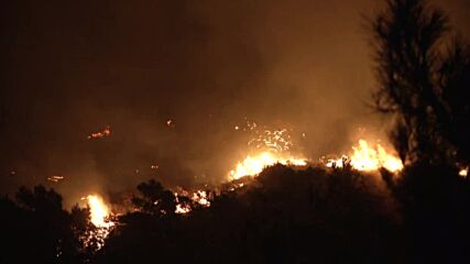 Turkey: Wildfire rages on into the night in Marmaris