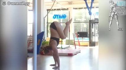 Мадама показва гимнастически и steet фитнес умения