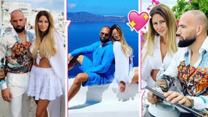 Гръцко, синьо и много горещо: Наско Месечков и красивата му жена отпрашиха на лятна почивка