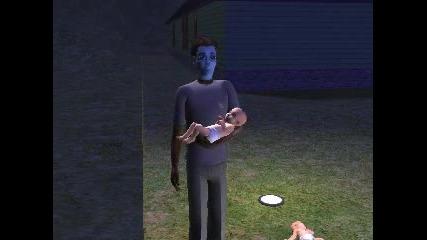 Извънземен В Sims2 Ражда Три Нормални Деца