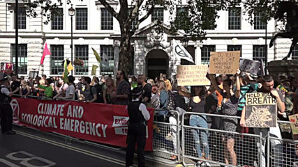 UK: Protesters call for action on Amazon fires outside Brazil's London embassy