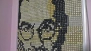 Портрет на Стив Джобс от компютърни клавиши