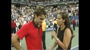 Федерер фантастичен удар през крака