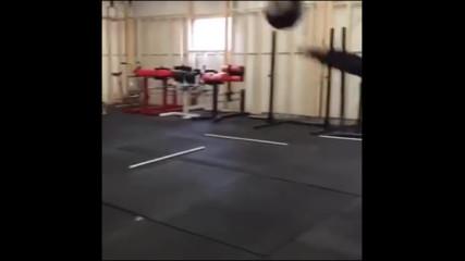 Girl Fails to Catch Ball after Backflip