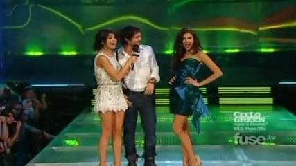 Nina, Ian and Selena on stage of Muchmusic