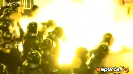 Бой между полиция и фенове на Спарта Прага