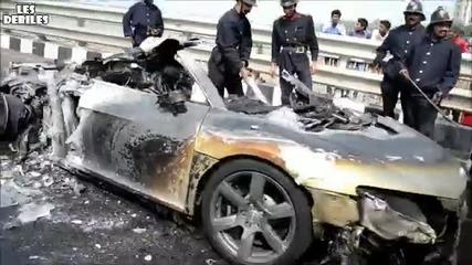 Кола изгоря на мост - Ето какво остана от нея