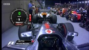 F1 Гран при на Сингапур 2012 - кадри от болида на Button [hd][onboard]