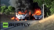 Turkey: Trucks BURN as PKK reportedly block roads in Erzincan