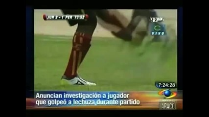 Футболист изрита сова по време на мач