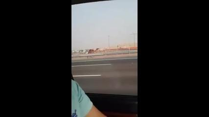 Луд арабин си гони камилата по магистралата