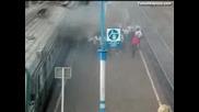 Хулигани нападат влак в Русия на гарата