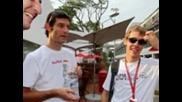 Снимки На Себастиан Фетел от състезанието на формула 1 за гран при на сингапур.