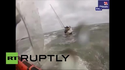 UK: Lifeboat rescues four from yacht ran aground in storm