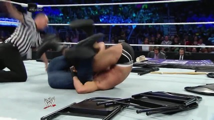 smackdown 25th july, 2014 seth rollins attacks dean ambrose during his match with cesaro