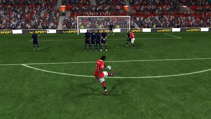 Много добър гол от пряк - свободен на Fifa11 *hd*