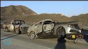 California Interstate 15 Fire Calms Overnight