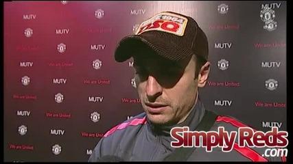 Бербатов с шампанско, интервю, крясъци от съблекалнята, Man United 7 - 1 Blackburn