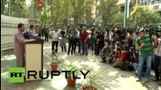 Iran: US, UK and Israeli flags BURN in Tehran outside former US embassy