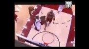 Lebron James with the amazing flight dunk on Luol Deng