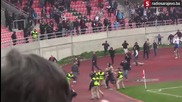 Bosnia and Herzigovina: Rival football fans clash at halftime in Tuzla