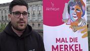 Germany: Berliners paint Merkel portraits in farewell tribute