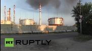 Пожар в петролната рафинерия в Саратов