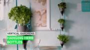 Vertical Gardens: Hanging Herb Bottles