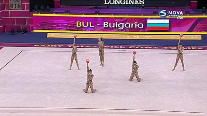Българският ансамбъл по художествена гимнастика със сребърен медал на 5 топки