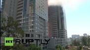 Ukraine: Fire rages through 22-storey Gagarin Plaza in Odessa, two injured