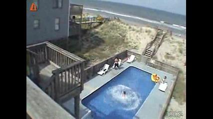 Смях почти невъзможен скок в басейн
