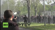Serbia: Partizan Belgrade fans clash with police before Red Star match