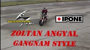Луд Танцува Gangnam Style върху мотор