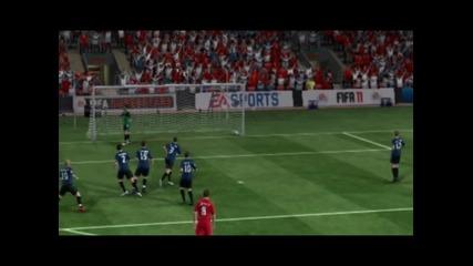 Супер изпълнение на Стивън Джерард от пряксвободен удар! : Fifa 11 ;]