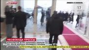 Охранител на Порошенко затвори устата на журналист