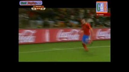 World Cup - Испания - Португалия ( 1 - 0 ) . Красив гол на David Villa след повторен опит.