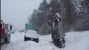 Кола застанала на 90 градуса при катастрофа